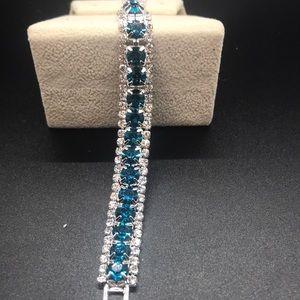 Blue and white topaz tennis bracelet